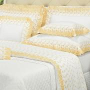 Kit: 1 Cobre-leito Solteiro + 1 porta-travesseiro Percal 200 fios com Bordado Inglês - Primavera Branco e Amarelo - Dui Design