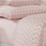 Jogo de Cama Queen Percal 200 fios com Bordado Inglês - Primavera Rosa Velho - Dui Design