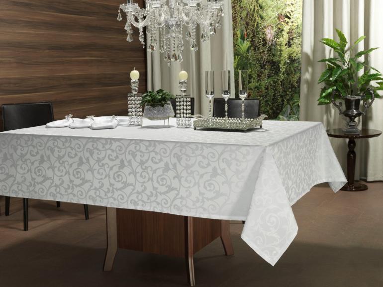 Toalha de Mesa Fácil de Limpar Retangular 8 Lugares 160x270cm - Princess Branco - Dui Design