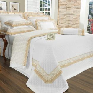 10434017ed Enxoval 10 peças com Cobre-leito Casal Percal 200 fios com Bordado Inglês -  Princess Branco e Dourado - Dui Design