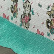 Kit: 1 Cobre-leito Casal Kids Bouti de Microfibra PatchWork Ultrasonic + 2 Porta-travesseiros - Priscila Azul - Dui Design