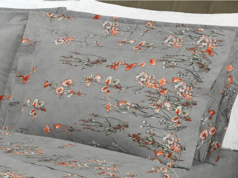 Jogo de Cama King Percal 180 fios - Proença Grafite - Dui Design