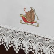 Toalha de Mesa Natal com Bordado Richelieu Quadrada 8 Lugares 220x220cm - Prosperidade Branco - Dui Design