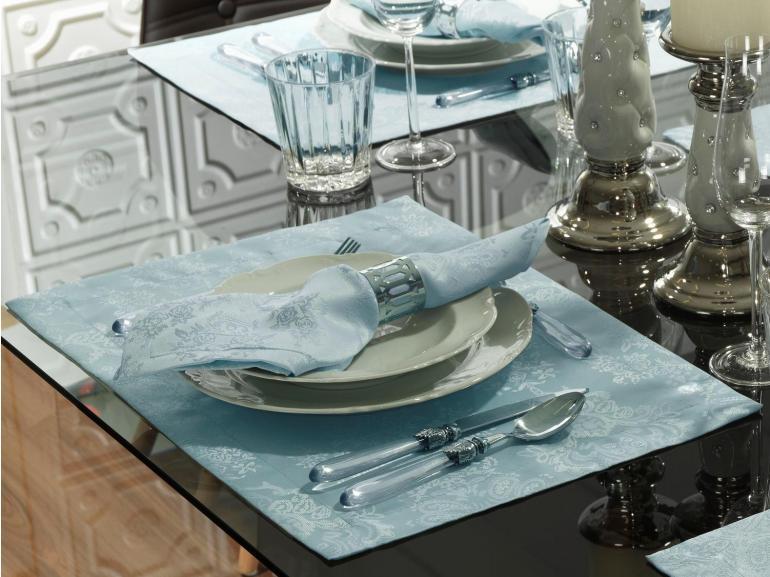 Jogo Americano 4 Lugares (4 peças) Fácil de Limpar 35x50cm - Provence Azul Claro - Dui Design