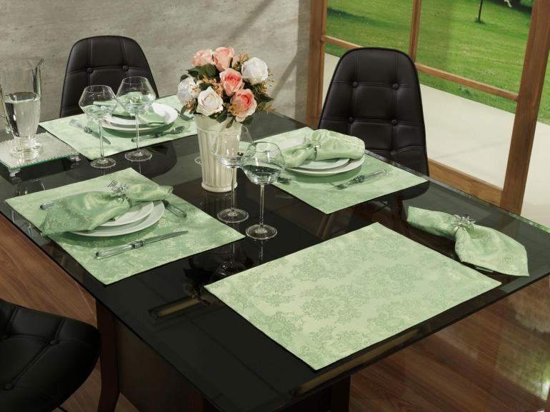 Jogo Americano 4 Lugares (4 peças) Fácil de Limpar 35x50cm - Provence Verde Claro - Dui Design