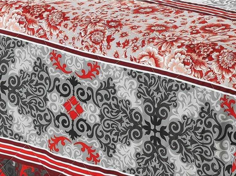 Kit: 1 Cobre-leito Casal + 2 Porta-travesseiros Percal 180 fios 100% Algodão - Provence Vermelho - Dui Design