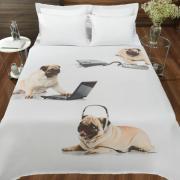 Cobertor Avulso Solteiro Flanelado com Estampa Digital - Pug Amigos - Dui Design