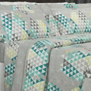 Kit: 1 Cobre-leito King + 2 Porta-travesseiros 150 fios - Qatar Cinza - Dui Design
