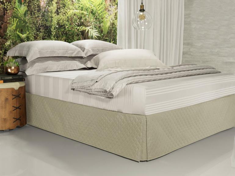 Saia para cama Box Matelassada com Tampão Solteiro - Quioto Matelada Bege - Dui Design