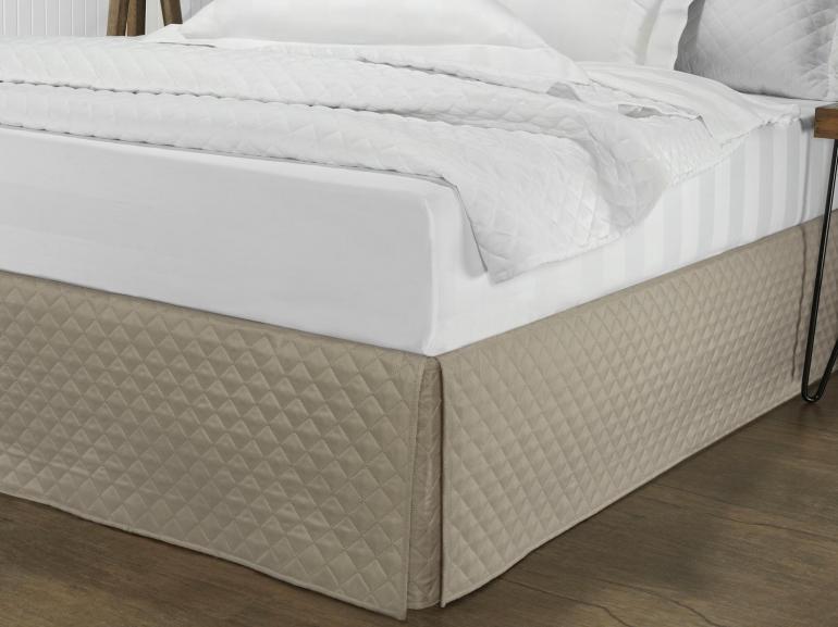 Saia para cama Box Matelassada com Tampão Casal - Quioto Matelada Caqui - Dui Design