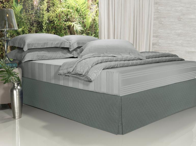 Saia para cama Box Matelassada com Tampão Queen - Quioto Matelada Cinza - Dui Design