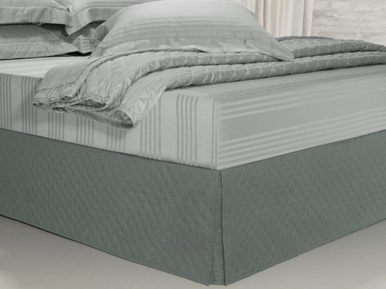 Saia para cama Box Matelassada com Tampão King - Quioto Matelada Cinza - Dui Design