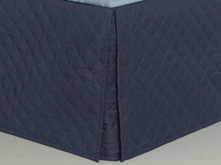 Saia para cama Box Matelassada com Tampão Solteiro - Quioto Matelada Indigo - Dui Design