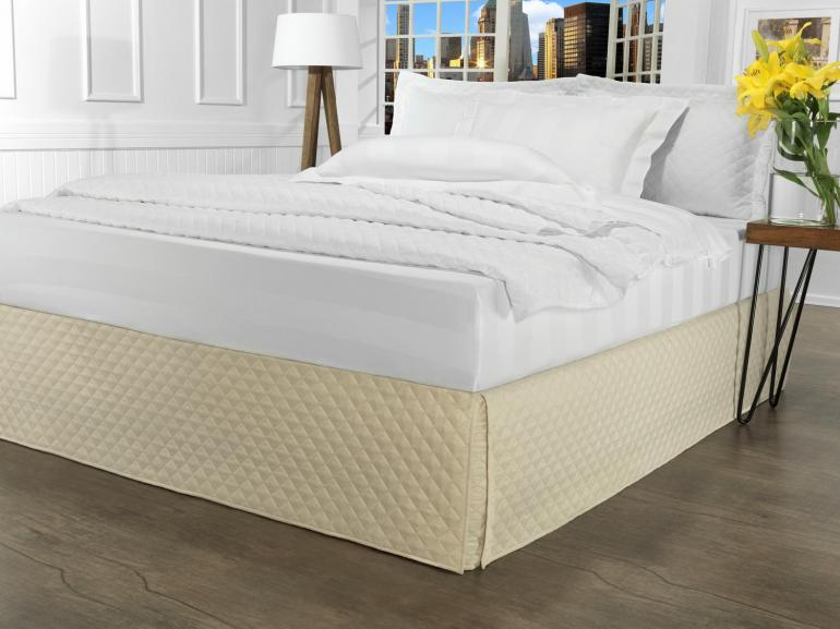 Saia para cama Box Matelassada com Tampão King - Quioto Matelada Marfim - Dui Design