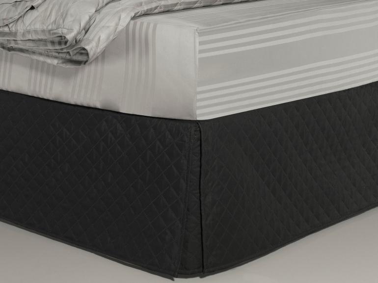 Saia para cama Box Matelassada com Tampão Solteiro - Quioto Matelada Preto - Dui Design