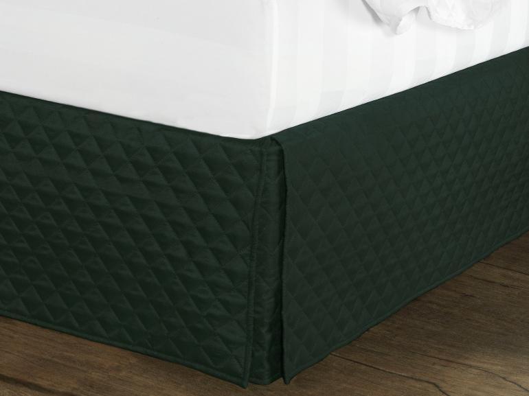 Saia para cama Box Matelassada com Tampão Casal - Quioto Matelada Preto Esverdeado - Dui Design