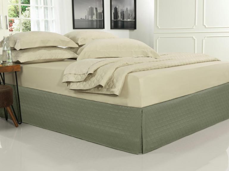 Saia para cama Box Matelassada com Tampão Casal - Quioto Matelada Taupe Escuro - Dui Design