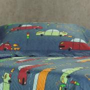 Kit: 1 Cobre-leito Casal Kids Bouti de Microfibra PatchWork Ultrasonic + 2 Porta-travesseiros - Race Azul - Dui Design