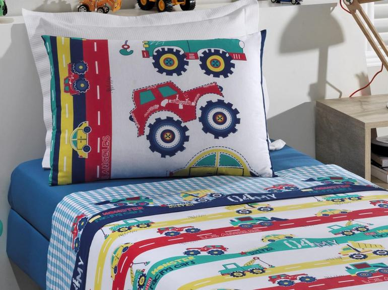 Jogo de Cama Solteiro Kids 100% algodão - Racing - Santista