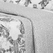 Kit: 1 Cobre-leito Queen Bouti de Microfibra Ultrasonic Estampada + 2 Porta-travesseiros - Radisson Cinza - Dui Design