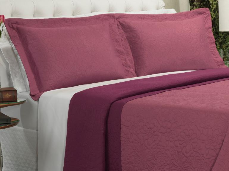 Kit: 1 Cobre-leito Casal Bouti de Microfibra Ultrasonic + 2 Porta-travesseiros - Rania Rosa Barroque - Dui Design