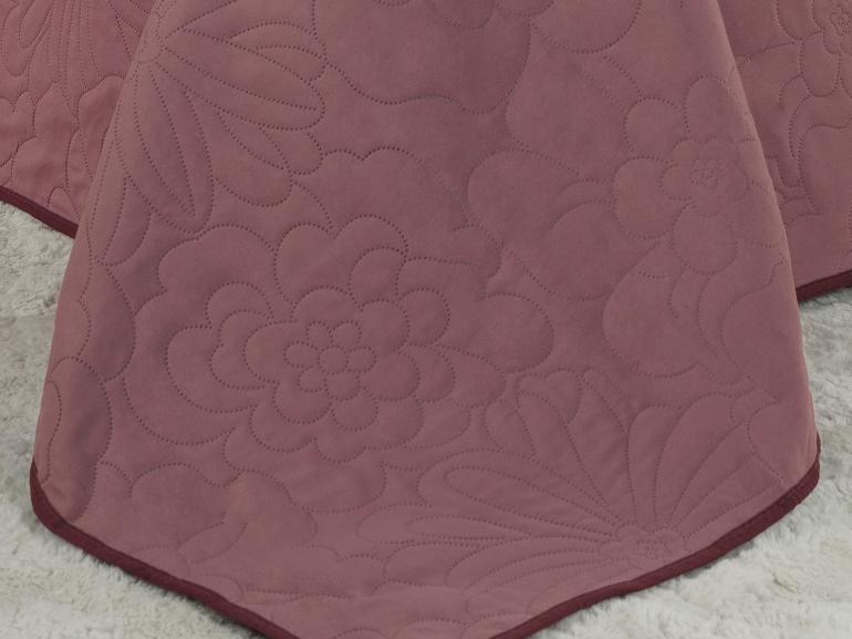 Kit: 1 Cobre-leito Queen Bouti de Microfibra Ultrasonic + 2 Porta-travesseiros - Rania Rosa Vintage - Dui Design