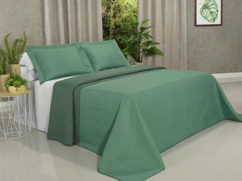 Kit: 1 Cobre-leito Casal Bouti de Microfibra Ultrasonic + 2 Porta-travesseiros - Rania Verde - Dui Design
