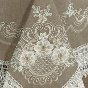 Toalha de Mesa com Bordado Richelieu Retangular 8 Lugares 160x270cm - Ravena Taupe - Dui Design