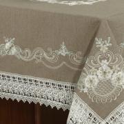 Toalha de Mesa com Bordado Richelieu Retangular 6 Lugares 160x220cm - Ravena Taupe - Dui Design