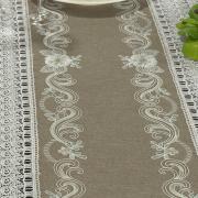 Trilho de Mesa com Bordado Richelieu 45x170cm Avulso - Ravena Taupe - Dui Design