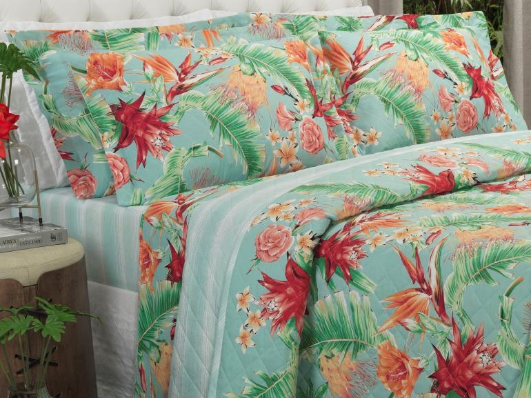 Kit: 1 Cobre-leito King + 2 Porta-travesseiros 150 fios - Rayana Azul - Dui Design
