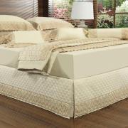 Saia para cama Box Matelassada com Bordado Inglês Solteiro - Regence Natural e Gold - Dui Design