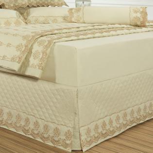 863104e98 Saia para cama Box Matelassada com Bordado Inglês Queen - Requinte Pérola - Dui  Design