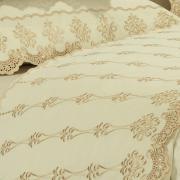 Jogo de Cama Queen Cetim de Algodão 1.000 fios com Bordado Inglês - Requinte Pérola - Dui Design