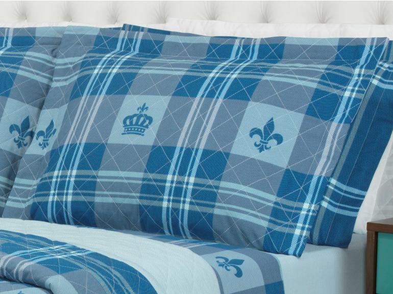 Kit: 1 Cobre-leito King + 2 Porta-travesseiros 150 fios - Richard Azul - Dui Design