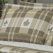 Kit: 1 Cobre-leito King + 2 Porta-travesseiros 150 fios - Richard Bege - Dui Design