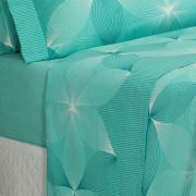 Jogo de Cama Casal 150 fios - Riske Turquesa - Dui Design