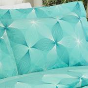 Kit: 1 Cobre-leito King + 2 Porta-travesseiros 150 fios - Riske Turquesa - Dui Design