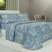 Kit: 1 Cobre-leito King + 2 Porta-travesseiros 150 fios - Rita Azul - Dui Design