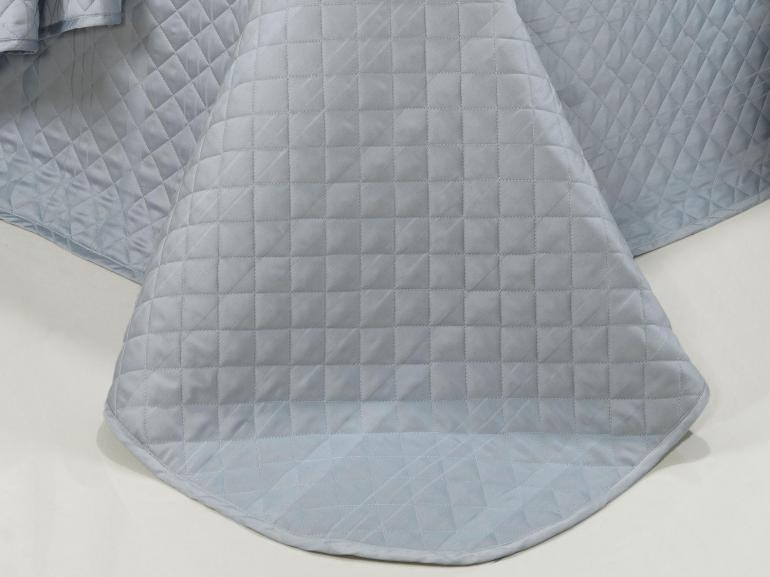Kit: 1 Cobre-leito Solteiro + 1 porta-travesseiro Cetim 300 fios - Riviera Azul - Dui Design