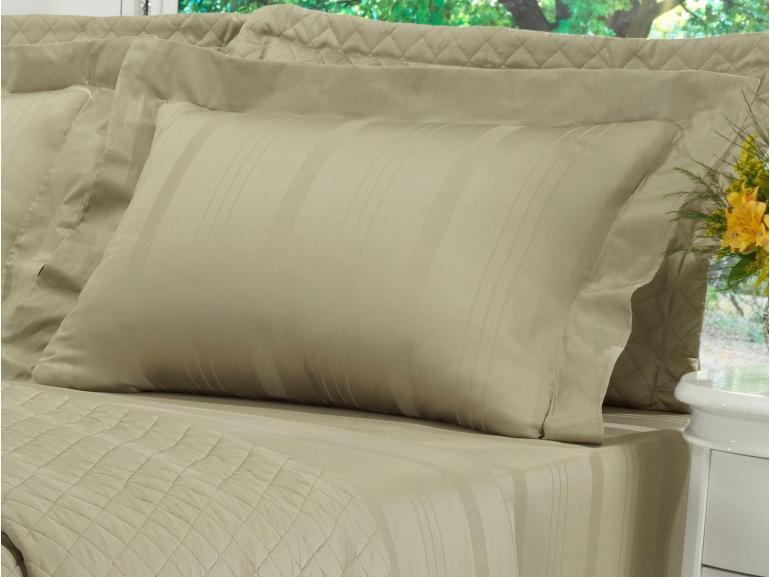 Kit: 1 Cobre-leito Solteiro + 1 porta-travesseiro Cetim 300 fios - Riviera Bege - Dui Design