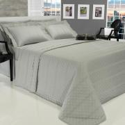 Kit: 1 Cobre-leito Casal + 2 porta-travesseiros Cetim 300 fios - Riviera Cinza - Dui Design