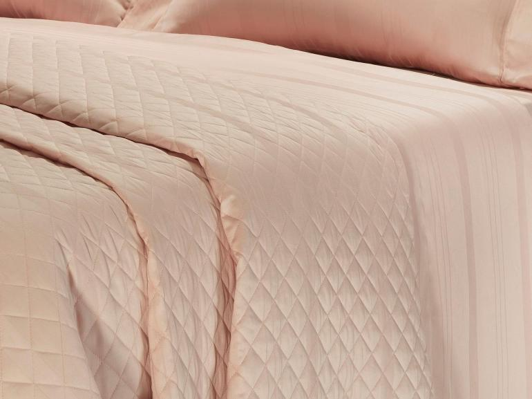 Jogo de Cama Casal Cetim 300 fios - Riviera Rosa - Dui Design