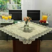 Centro de Mesa com Bordado Guipir Fácil de Limpar 85x85cm Avulso - Rochelle Pérola - Dui Design