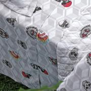 Kit: 1 Cobre-leito King + 2 Porta-travesseiro 160 fios 100% Algodão - Rock - Kacyumara