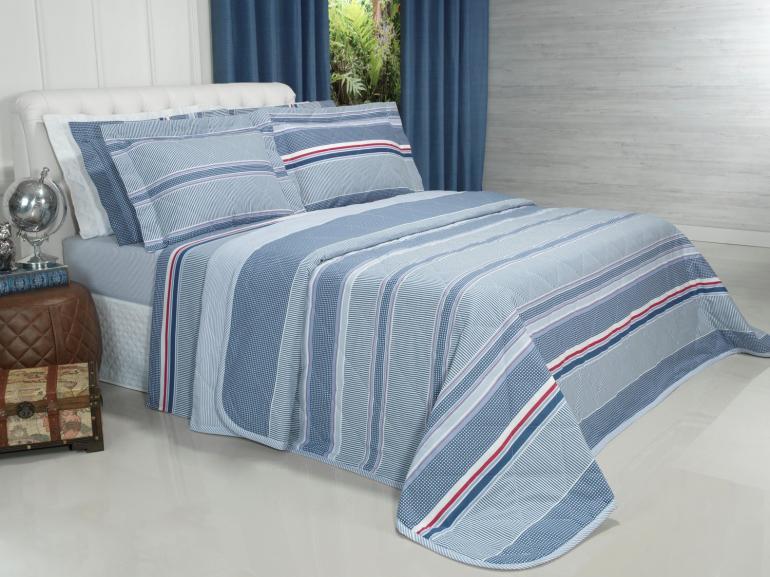 Kit: 1 Cobre-leito Casal + 2 Porta-travesseiros 150 fios - Rodolfo Azul - Dui Design