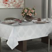 Toalha de Mesa Fácil de Limpar Retangular 8 Lugares 160x270cm - Romy Branco - Dui Design