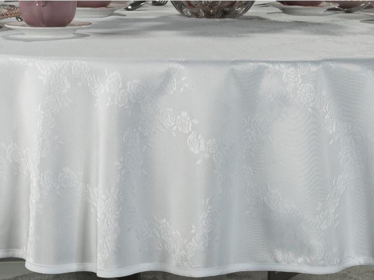 Toalha de Mesa Fácil de Limpar Redonda 220cm - Romy Branco - Dui Design