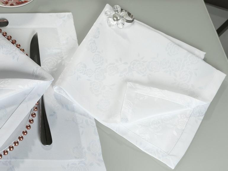 Kit: 4 Guardanapos 50x50cm - Romy Branco - Dui Design