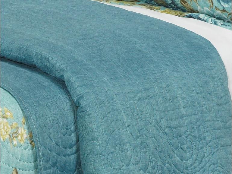 Kit: 1 Cobre-leito Casal Bouti de Microfibra Ultrasonic Estampada + 2 Porta-travesseiros - Rosamaria Azul - Dui Design